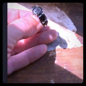 Black onyx, set in sterling silver